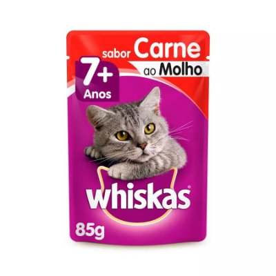 Ração Úmida Whiskas Para Gatos Adultos 7+ Anos Sachê Sabor Carne Ao Molho - 85g