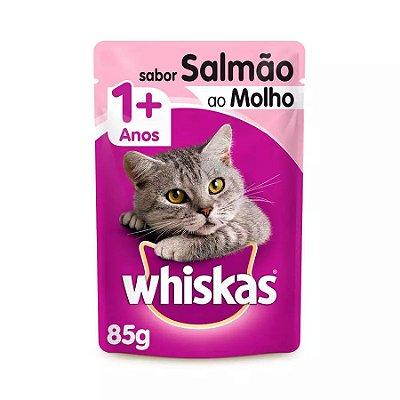 Ração Úmida Whiskas Sachê Para Gatos Adultos Sabor Salmão Ao Molho - 85g