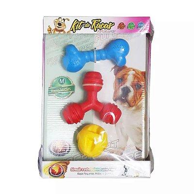 Kit de Brinquedo para Cães Médios de Borracha Maciça Furacão - Cores Sortidas