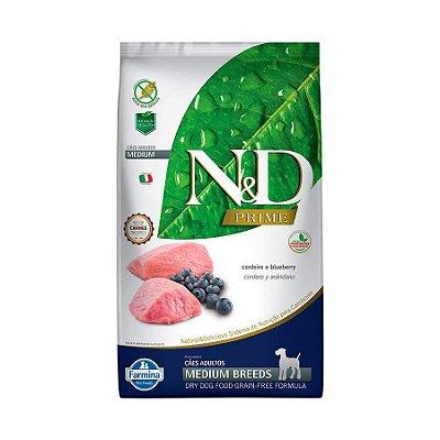Ração Farmina N&D Prime Cordeiro e Blueberry Cães Adultos Raças Médias 10,1kg