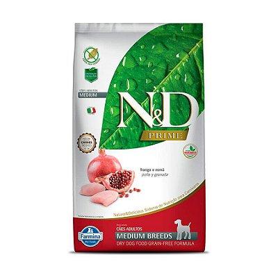 Ração N&D Grain Free para Cães Adultos de Raças Médias Sabor Frango e Romã 10,1kg