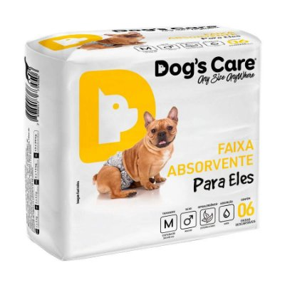Fralda Higiênica Dogs Care com Gel para Cães Machos 6 Unidades M