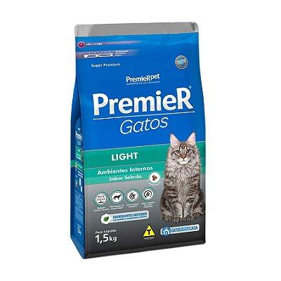 Ração Premier Ambientes Internos Light para Gatos Adultos Sabor Salmão 1,5kg