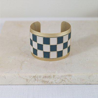 Bracelete Xadrez Color Nath - Azul e Off