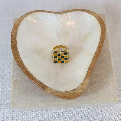 Anel Square Color Nath - Verde e Caramelo
