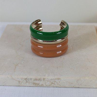 Bracelete Gomos - Cappuccino e Verde
