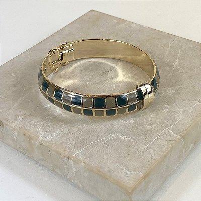 Bracelete Square Color Nath - Petroleo e Cinza