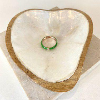 Aliança Esmaltada Verde com Cristal - Verde