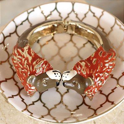 Pulseira Bracelete Leão - Capuccino e Terra