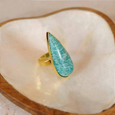 Anel Gota Pedra Natural Turquesa - Turquesa