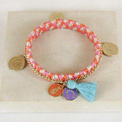 Pulseira Handmade Medalhas - Rosa, Laranja e Off