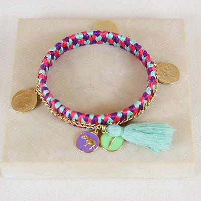 Pulseira Handmade Medalhas - Rosa, Lilás e Verde