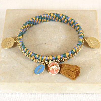 Pulseira Handmade Medalhas - Verde, Azul e Amarelo