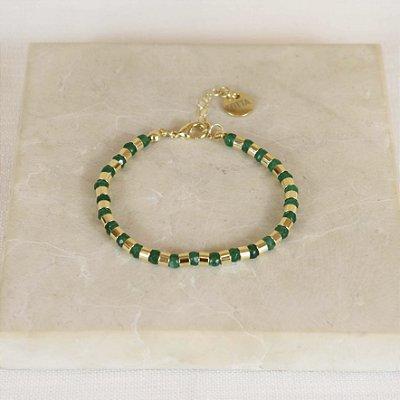 Pulseira Canutilho Pedra - Verde