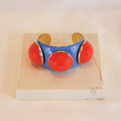 Bracelete Três Bolas Color - Lilas Blue c/ Laranja