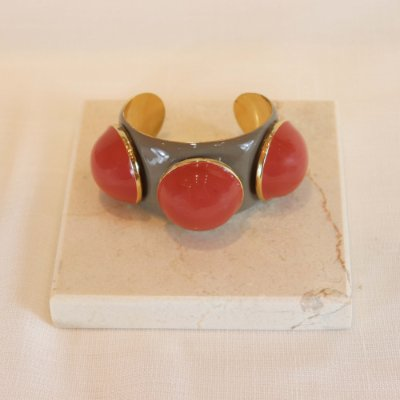 Bracelete Três Bolas Color - Cinza e Rosê