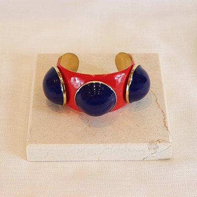 Bracelete Três Bolas Color - Vermelho Joaninha c/  Azul Bic