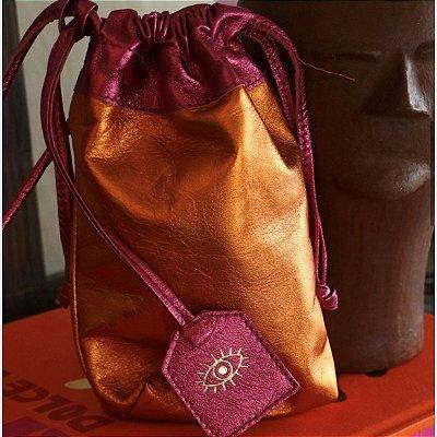 Bolsa Metalizada Bicolor - Laranja e Rosa
