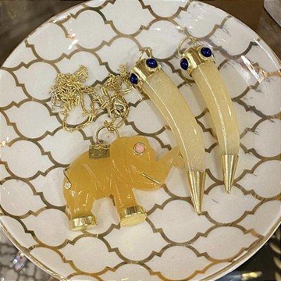 Pingente Lucky Stone Calcita Amarela - Azul marinho