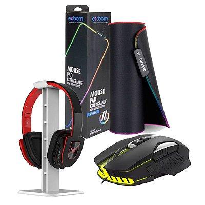 Combo Casa do Gamer 3 em 1 Mouse Suporte para Headset e Mouse Pad