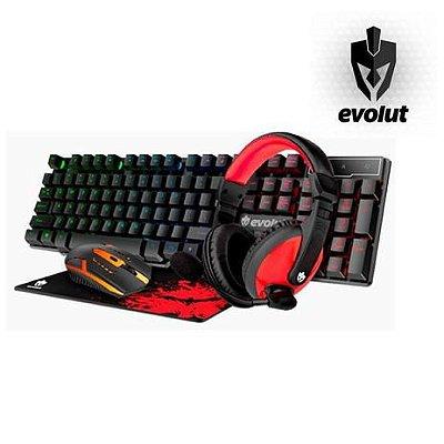 Kit Gamer Starter Evolut EG-51 Teclado + Mouse + Headset + Mousepad