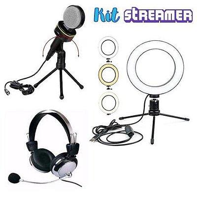 Kit Streamer Youtuber 2 Iluminador Ring Light Microfone Condensador Fone de Ouvido