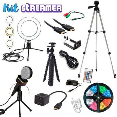 Kit Streamer Youtuber 7 Ring light Fita Led Microfone condensador Tripe Reforçado