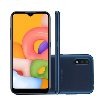 Smartphone Samsung Galaxy A01 32GB 4G Wi-Fi Tela 5.7'' Dual Chip 2GB RAM Câmera Dupla Traseira 13MP + Selfie 5MP - Azul