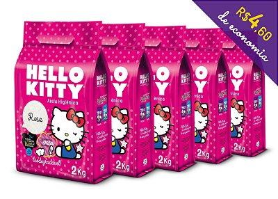 Areia Higiênica Biodegradável Hello Kitty Rosa - Kit de 5 unidades com 10Kg