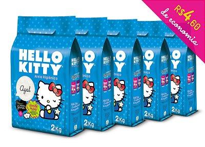 Areia Higiênica Hello Kitty Azul - Kit de 5 unidades com 10kg