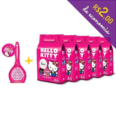 Kit Areia Higiênica Biodegradável Hello Kitty Rosa de 5 unidades com 10kg + Pá Higiênica Rosa