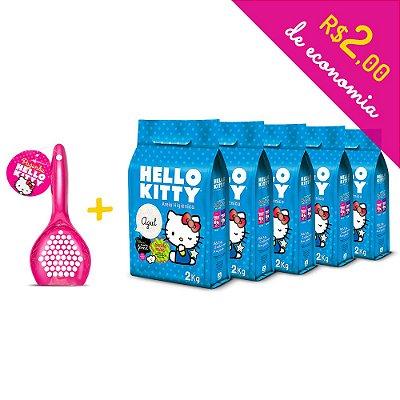 Kit Areia Higiênica Hello Kitty Azul de 5 unidades com 10kg + Pá Higiênica Rosa