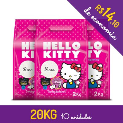 Areia Higiênica Biodegradável Hello Kitty Rosa - kit de 10 unidades