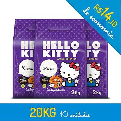 Areia Higiênica Biodegradável Hello Kitty Roxa - Kit de 10 unidades