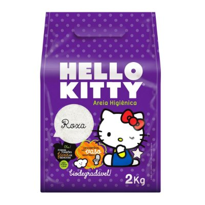 Areia Higiênica Biodegradável Hello Kitty Roxa