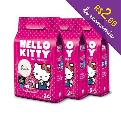 Areia Higiênica Biodegradável Hello Kitty Rosa - Kit de 3 unidades com 6 kg