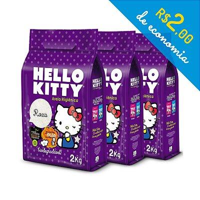 Areia Higiênica Biodegradável Hello Kitty Roxa - Kit de 3 unidades com 6 kg