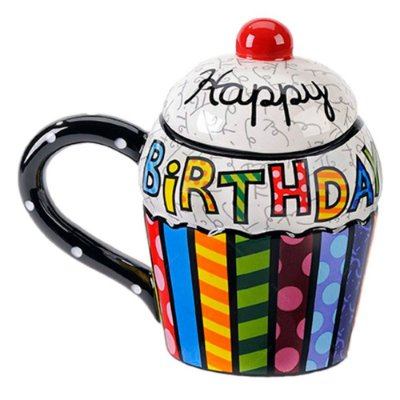 Caneca Cupcake Romero Britto Happy Birthday