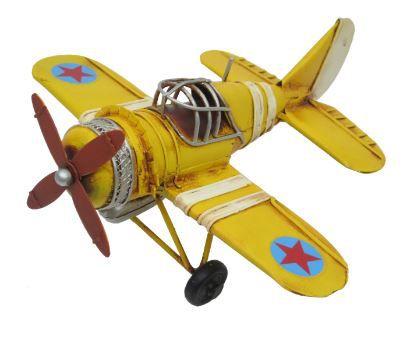 Avião Retro Amarelo Metal 17 cm