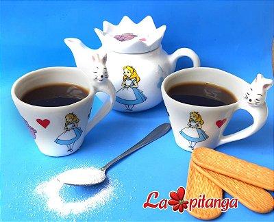 Kit café Alice no país das maravilhas 4 peças