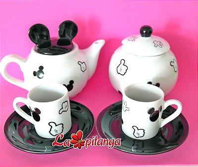 Kit Café Mickey Branco - 4 peças