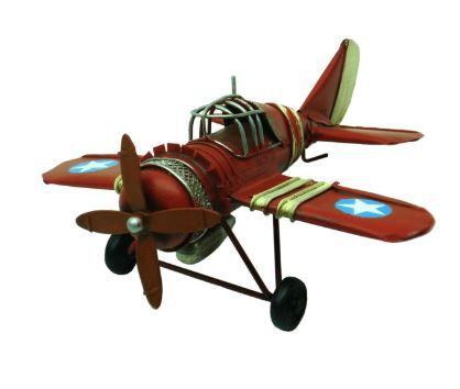 Avião de Metal Vintage Vermelho