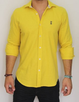 Camisa Sergio K Slim Fit Basic -Amarela