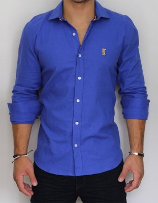Camisa Sergio K Slim Fit Basic -Azul