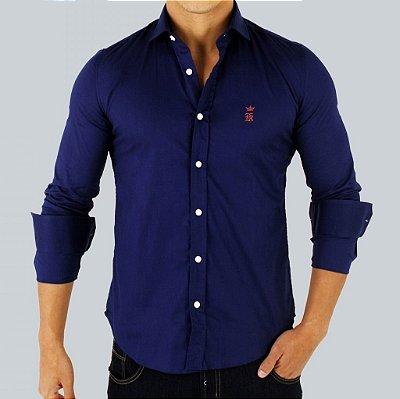 Camisa Sergio K Slim Fit Basic -Azul Escuro