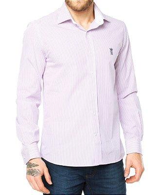 Camisa Sergio K Slim Fit Roxa Listrada