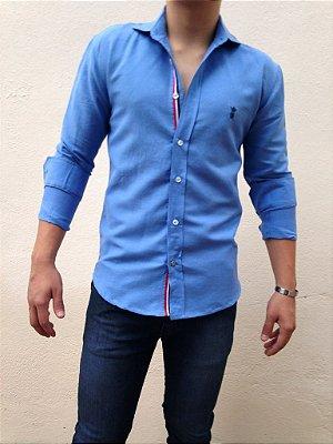 Camisa Sergio K Slim Fit - Azul com Detalhes