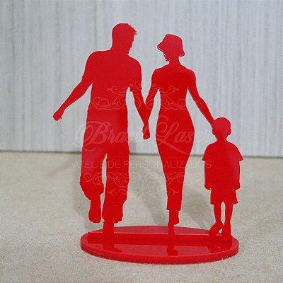 Topo De Bolo Casal com filho - com 14cm (maior lado da peça) - Cor à Escolher