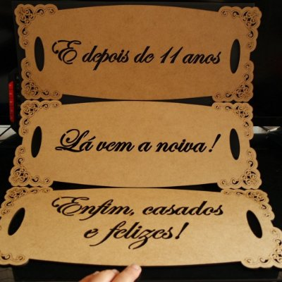 4 Placas para entrada da Noiva Pintada ou cru (Personalizadas) 40 cm de largura