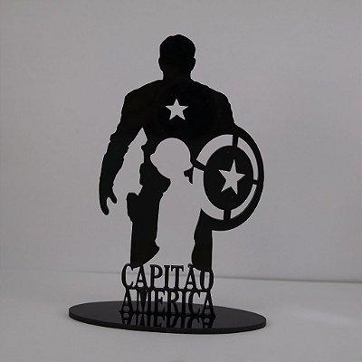 Topo De Bolo Temático (Capitão América) Marvel - 14cm (maior lado da peça)  - Cor à Escolher